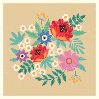 Modèle de carte postale vintage avec des fleurs et des feuilles