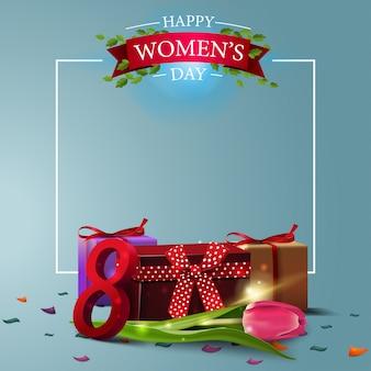 Modèle de carte postale de voeux bleu moderne à la fête des femmes