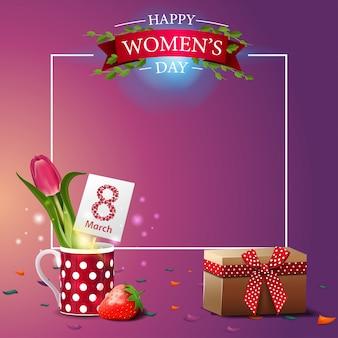 Modèle de carte postale de voeux rose moderne à la fête des femmes
