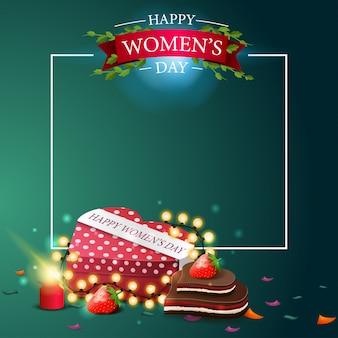 Modèle de carte postale de voeux vert moderne à la fête des femmes