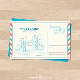 Modèle de carte postale de voyage dans un style dessiné à la main