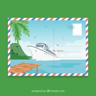 Modèle de carte postale de voyage dessinés à la main