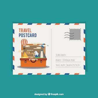 Modèle de carte postale de voyage avec des éléments plats