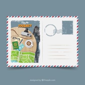 Modèle de carte postale de voyage