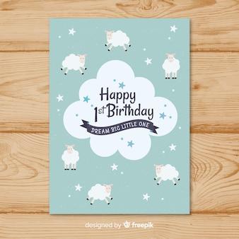 Modèle de carte premier anniversaire moutons