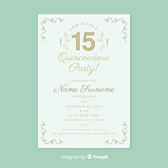 Modèle de carte quinceanera décoration linéaire