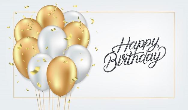 Modèle de carte réaliste joyeux anniversaire