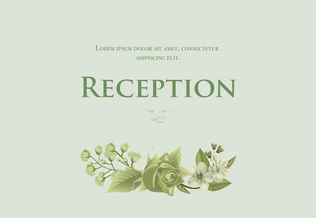 Modèle de carte de réception de mariage avec fleur, rose et muguet