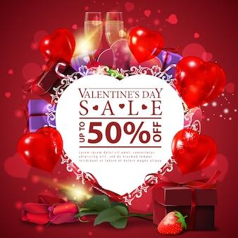 Modèle de carte de réduction rouge saint valentin avec coeur de papier