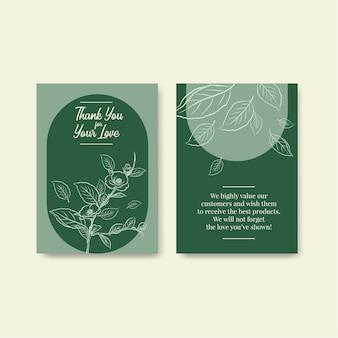 Modèle de carte de remerciement avec fleur d'art en ligne