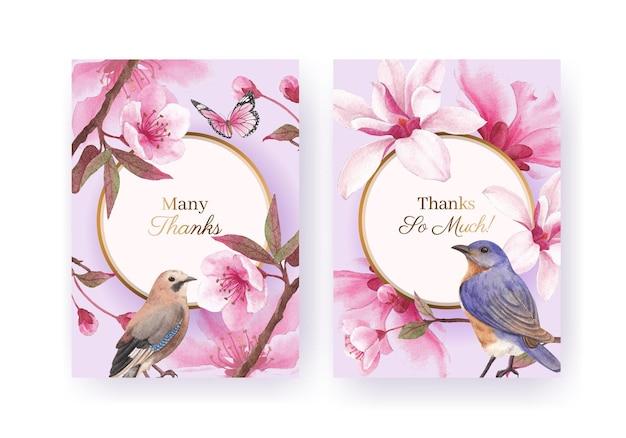 Modèle de carte de remerciement avec illustration aquarelle de fleur oiseau concept design