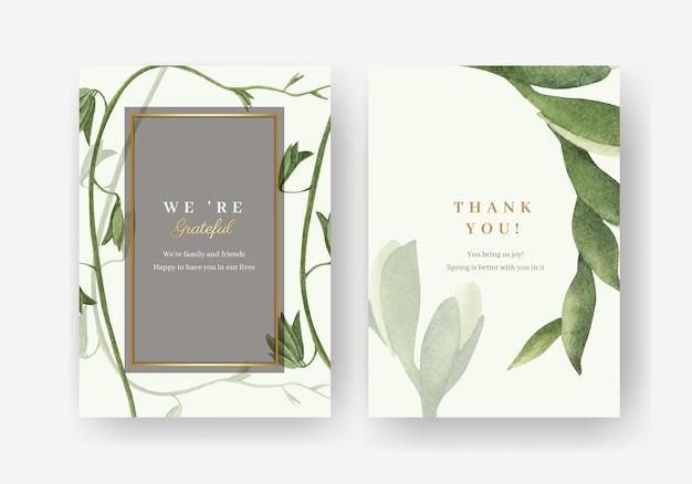 Modèle de carte de remerciement avec illustration aquarelle printemps lumineux concept