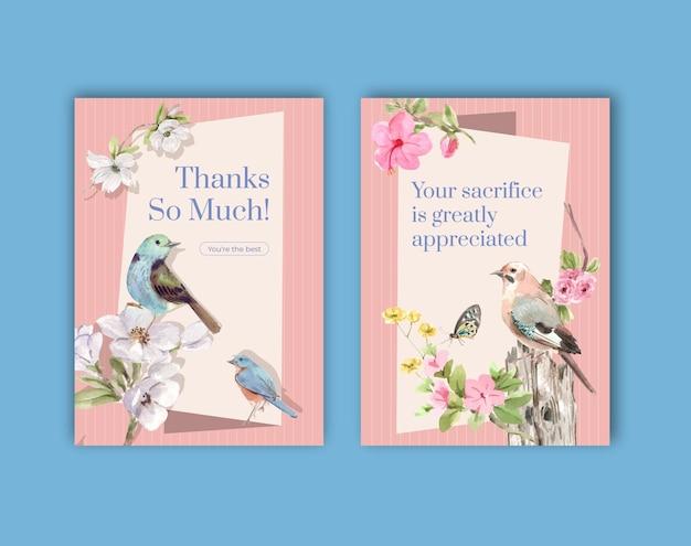 Modèle de carte de remerciement sertie d'oiseaux et concept de printemps