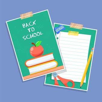 Modèle de carte de retour coloré à l'école
