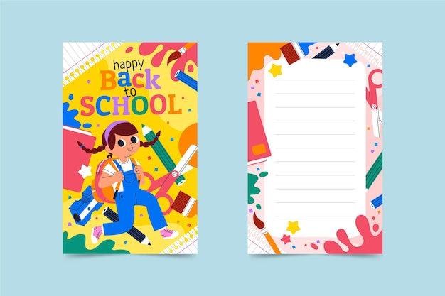 Modèle de carte de retour à l'école de dessin animé