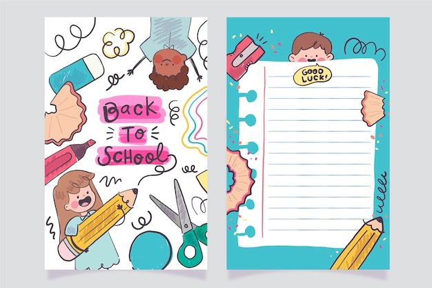 Modèle de carte de retour à l'école dessiné à la main