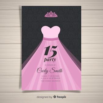 Modèle de carte de robe de princesse quinceanera