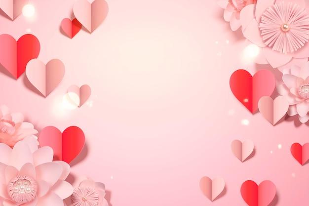 Modèle de carte de la saint-valentin avec des décorations en forme de coeur en papier et des fleurs, style 3d