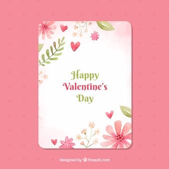 Modèle de carte de saint valentin floral