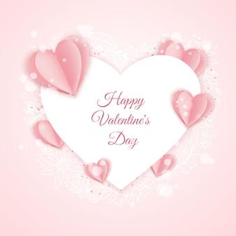 Modèle de carte de saint valentin heureux avec du papier rose et en forme de coeur