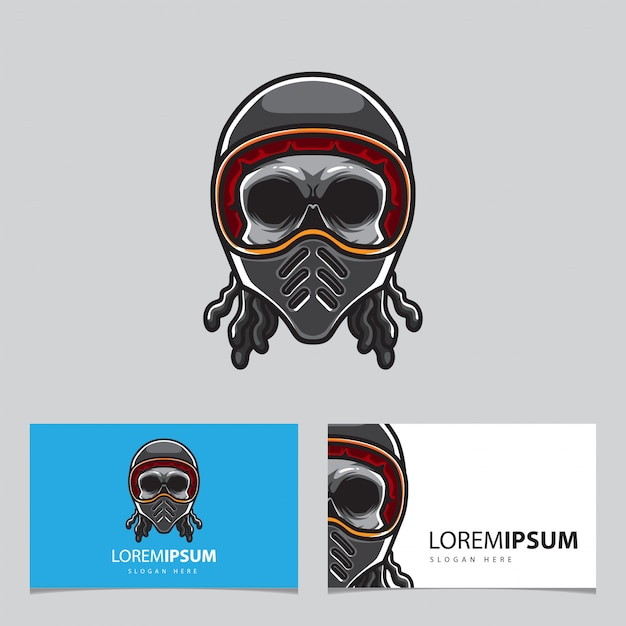 Modèle de carte skull helmet motor club