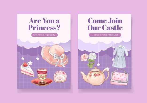 Modèle de carte avec tenue de princesse, style aquarelle