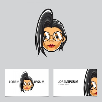 Modèle de carte tête de fille hipster