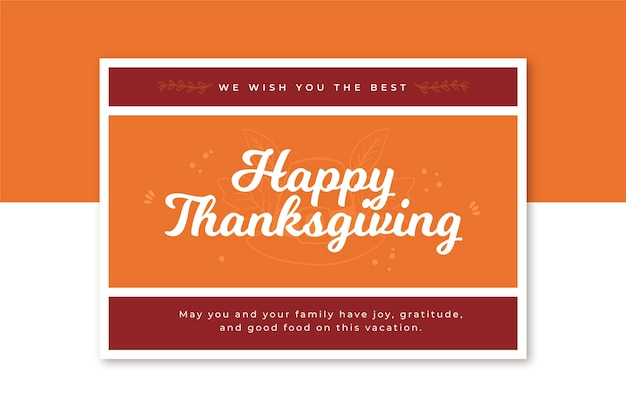 Modèle de carte de thanksgiving horizontal