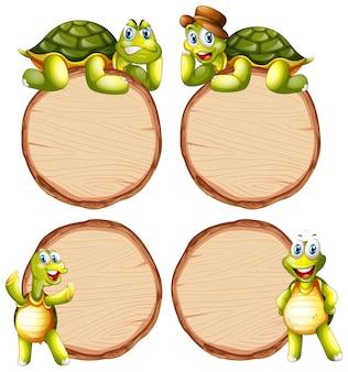 Modèle de carte avec tortue mignonne sur fond blanc