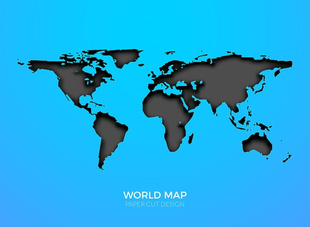 Modèle de carte vectorielle mondiale isolé. géographie mondiale de la terre
