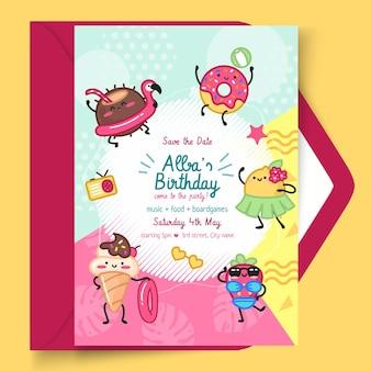 Modèle de carte verticale d'anniversaire pour enfants