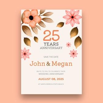 Modèle de carte de vingt-cinquième anniversaire de mariage