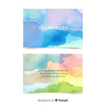 Modèle de carte de visite abstrait aquarelle