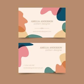 Modèle de carte de visite abstrait avec des couleurs pastel et des taches