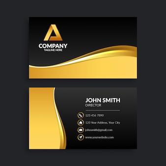 Modèle de carte de visite abstrait noir et or
