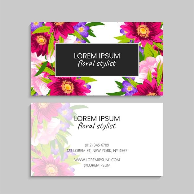 Modèle De Carte De Visite Abstraite Avec Des Fleurs Vecteur gratuit