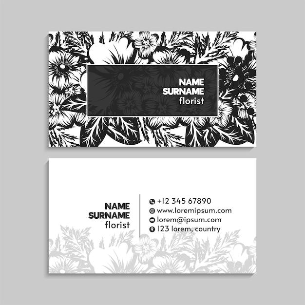 Modèle de carte de visite abstraite avec des fleurs