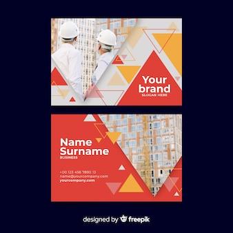 Modèle de carte de visite abstraite avec image
