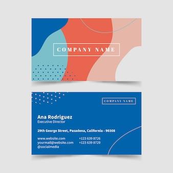 Modèle de carte de visite abstraite avec jeu de taches de couleur pastel
