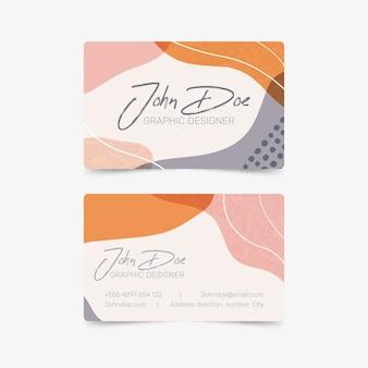 Modèle de carte de visite abstraite avec pack de taches de couleur pastel
