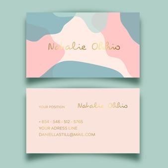 Modèle de carte de visite abstraite avec tache de couleur pastel
