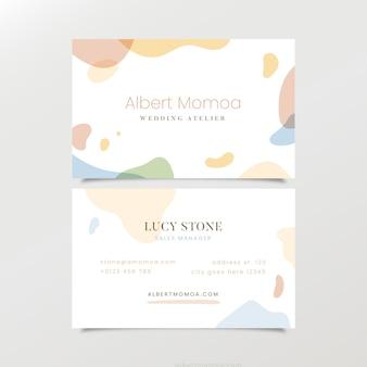 Modèle de carte de visite abstraite de taches de couleur pastel