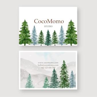 Modèle de carte de visite aquarelle aquarelle pine hills