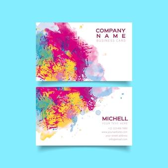 Modèle de carte de visite aquarelle explosion de couleurs