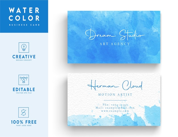 Modèle de carte de visite aquarelle fond bleu