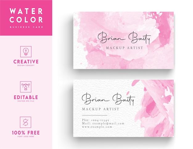 Modèle de carte de visite aquarelle rose et blanc