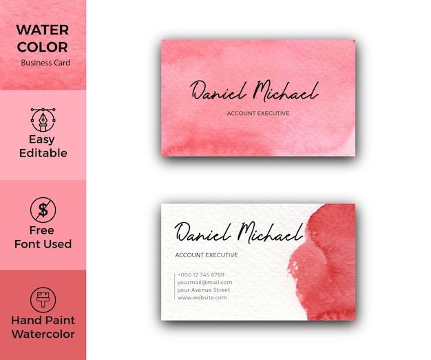 Modèle de carte de visite aquarelle rouge élégant