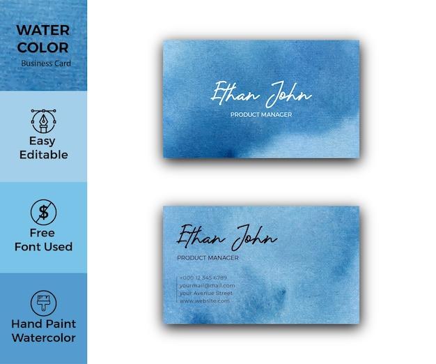 Modèle de carte de visite aquarelle taches bleues