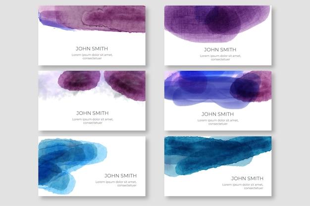 Modèle de carte de visite aquarelle taches colorées
