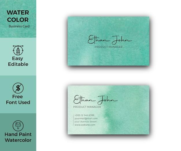 Modèle de carte de visite aquarelle taches vertes